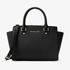 Michael Kors Selma Black Saffiano Medium Satchel